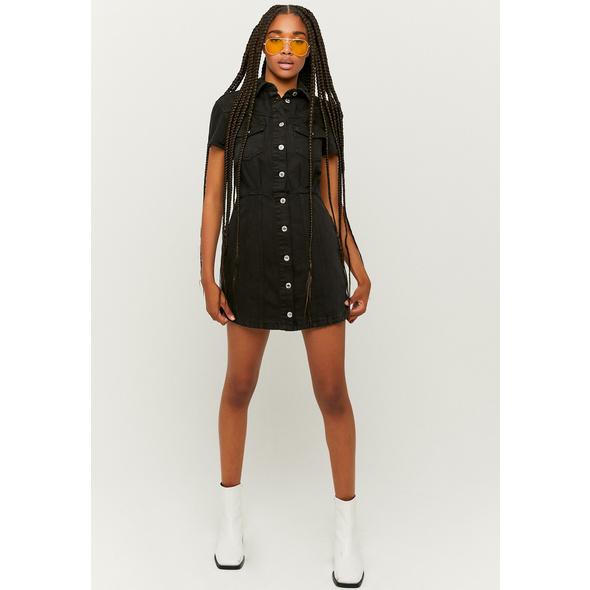 Denim kurzärmliges Mini Kleid