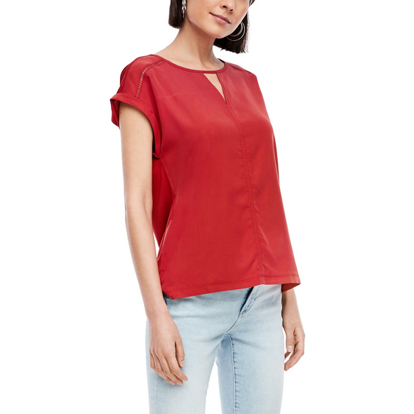 Fabric-Mix-Shirt mit Cut Out - Materialmix-Shirt