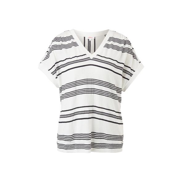 Streifenshirt mit V-Ausschnitt - T-Shirt