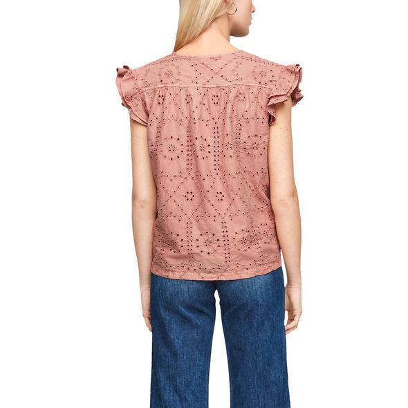 Rüschen-Bluse mit Lochstickerei - Baumwollbluse