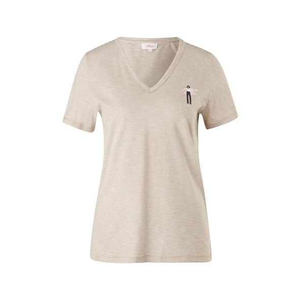 Ringelshirt mit Print-Detail - T-Shirt