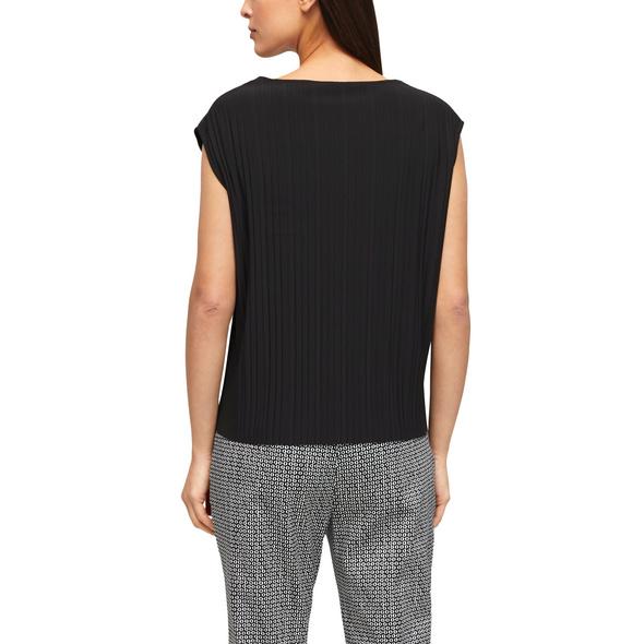 Plissee-Shirt mit V-Ausschnitt - Blusenshirt