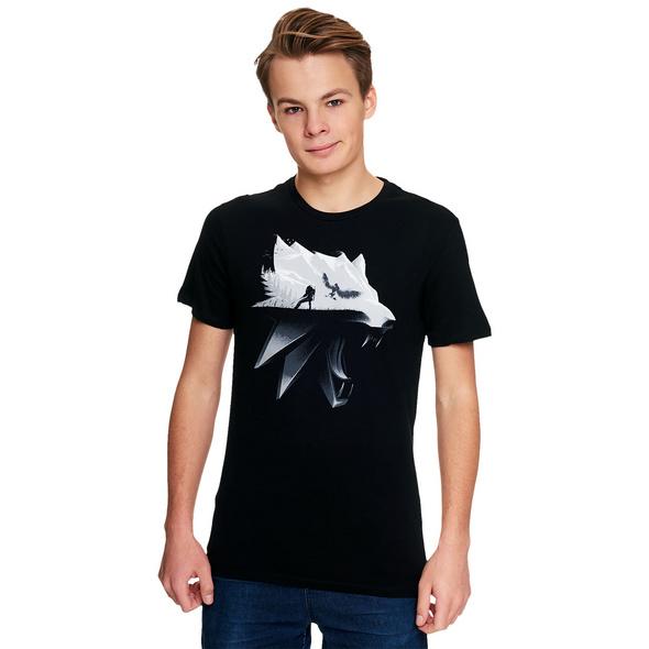 Witcher - Wolf Silhouette T-Shirt schwarz