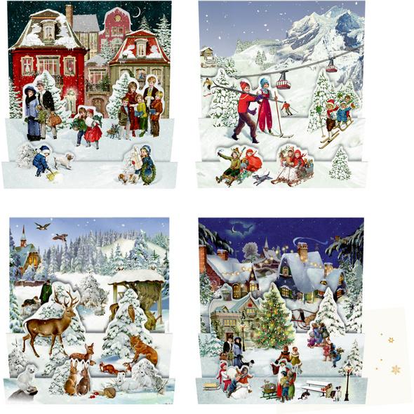 Mini-Adventskalender-Sortiment - Nostalgische Wint