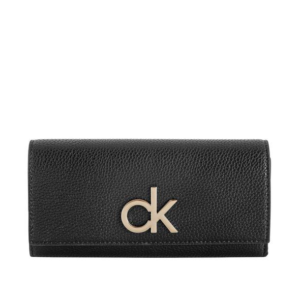 Calvin Klein Portmonee Damen Re-Lock Large Trifold schwarz
