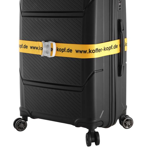 Koffer Kopf Koffergurt gelb