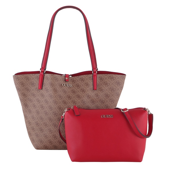 Guess Shopper Alby Toggle Tote Bag in Bag brown cherry