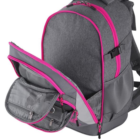 Kischoo Schulrucksack Set 3tlg. Effekt 40l grey/pink