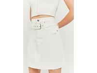 High Waist Paperbag Mini Denim Skirt
